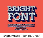 vector retro bright font.  set... | Shutterstock .eps vector #1041072700