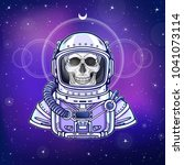 animation astronaut skeleton in ... | Shutterstock .eps vector #1041073114