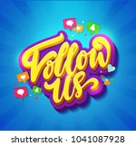 follow us memphis colorful card.... | Shutterstock .eps vector #1041087928