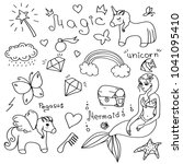 doodle on the theme of magic ... | Shutterstock .eps vector #1041095410