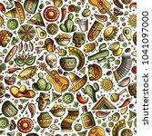 cartoon hand drawn latin... | Shutterstock .eps vector #1041097000