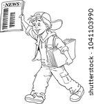 seller of newspapers | Shutterstock .eps vector #1041103990