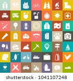 travel icons, outdoor Camping icons set, adventure icons, mountain and picnic icons | Shutterstock vector #1041107248