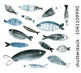 watercolor hand drawn fishes | Shutterstock . vector #1041109990