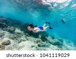 underwater photo of family...   Shutterstock . vector #1041119029