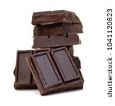 chocolate pieces on white  | Shutterstock . vector #1041120823