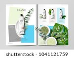 cosmetic magazine template  set ... | Shutterstock .eps vector #1041121759