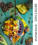 healthy sweet summer caribbean... | Shutterstock . vector #1041136180