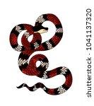 red snake vector.lampropeltis... | Shutterstock .eps vector #1041137320