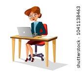 vector cartoon business woman... | Shutterstock .eps vector #1041138463