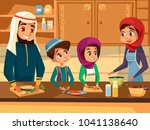 arab family cooking together at ... | Shutterstock .eps vector #1041138640