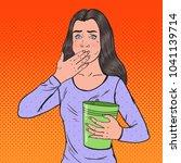 pop art sick woman throwing up. ... | Shutterstock .eps vector #1041139714