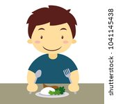 hungry asian boy eating rice | Shutterstock .eps vector #1041145438