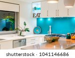 kitchen interior with colourful ... | Shutterstock . vector #1041146686