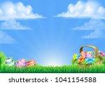 an easter eggs basket design... | Shutterstock .eps vector #1041154588