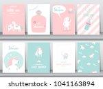 set of baby shower invitations... | Shutterstock .eps vector #1041163894