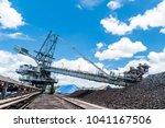 coal stacker and coal reclaimer ... | Shutterstock . vector #1041167506