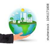 green eco global city nature... | Shutterstock .eps vector #1041171808
