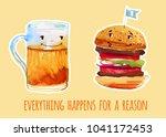 beer mug and burger cartoon...   Shutterstock . vector #1041172453