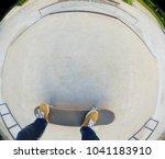 skateboarder legs riding... | Shutterstock . vector #1041183910