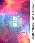 exotic palm leaves on geometric ... | Shutterstock .eps vector #1041187960