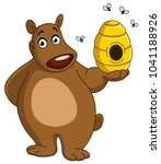 happy bear holding a beehive | Shutterstock .eps vector #1041188926