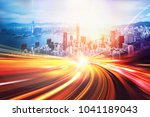 motion speed effect with city... | Shutterstock . vector #1041189043