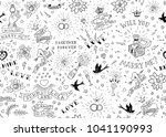 old school tattoos seamles... | Shutterstock .eps vector #1041190993