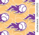 seamless pattern with baseball... | Shutterstock .eps vector #1041192523