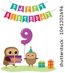 cute anniversary card with owls.... | Shutterstock .eps vector #1041202696
