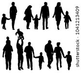 set silhouette of happy family... | Shutterstock .eps vector #1041213409
