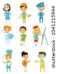 kids in various costumes.... | Shutterstock .eps vector #1041215944