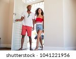 couple arriving at summer... | Shutterstock . vector #1041221956
