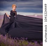 beautiful girl in black air... | Shutterstock . vector #1041224449