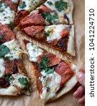mozzarella tomato salmon pizza   Shutterstock . vector #1041224710