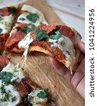 mozzarella tomato salmon pizza   Shutterstock . vector #1041224956