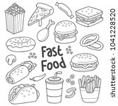 various fast food in cartoon... | Shutterstock .eps vector #1041228520