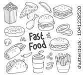 various fast food in cartoon... | Shutterstock .eps vector #1041228520