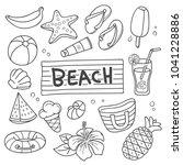summer beach vector in cartoon...   Shutterstock .eps vector #1041228886