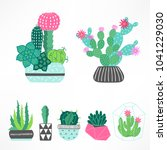 set of cactuses and succulents... | Shutterstock .eps vector #1041229030