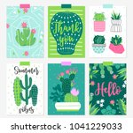 six summer cards with cactuses... | Shutterstock .eps vector #1041229033