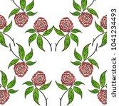 drawing rose flower blossom on... | Shutterstock . vector #1041234493