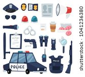 police vector policy signs of... | Shutterstock .eps vector #1041236380
