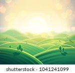 morning rural landscape sunrise ... | Shutterstock . vector #1041241099