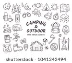 hand drawn camping and hiking... | Shutterstock .eps vector #1041242494