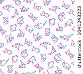 origami seamless pattern with... | Shutterstock .eps vector #1041243223