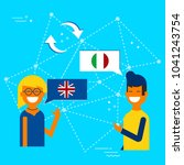 friends from england and italy... | Shutterstock .eps vector #1041243754