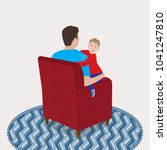 dad sits in the armchair and... | Shutterstock .eps vector #1041247810