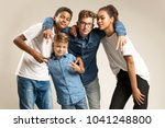 kids posing in front of camera | Shutterstock . vector #1041248800