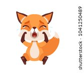 cute sad fox character sitting... | Shutterstock .eps vector #1041250489